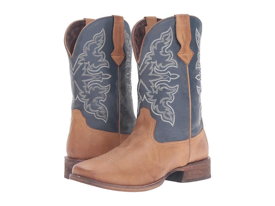 Roper Rowdy (Tan Burnished Vamp/Blue Shaft) Cowboy Boots