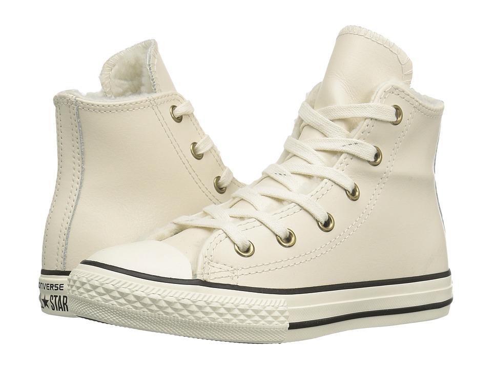 Converse Kids - Chuck Taylor All Star Shearling Hi (Little Kid/Big Kid) (Parchment/Black/Egret) Girls Shoes
