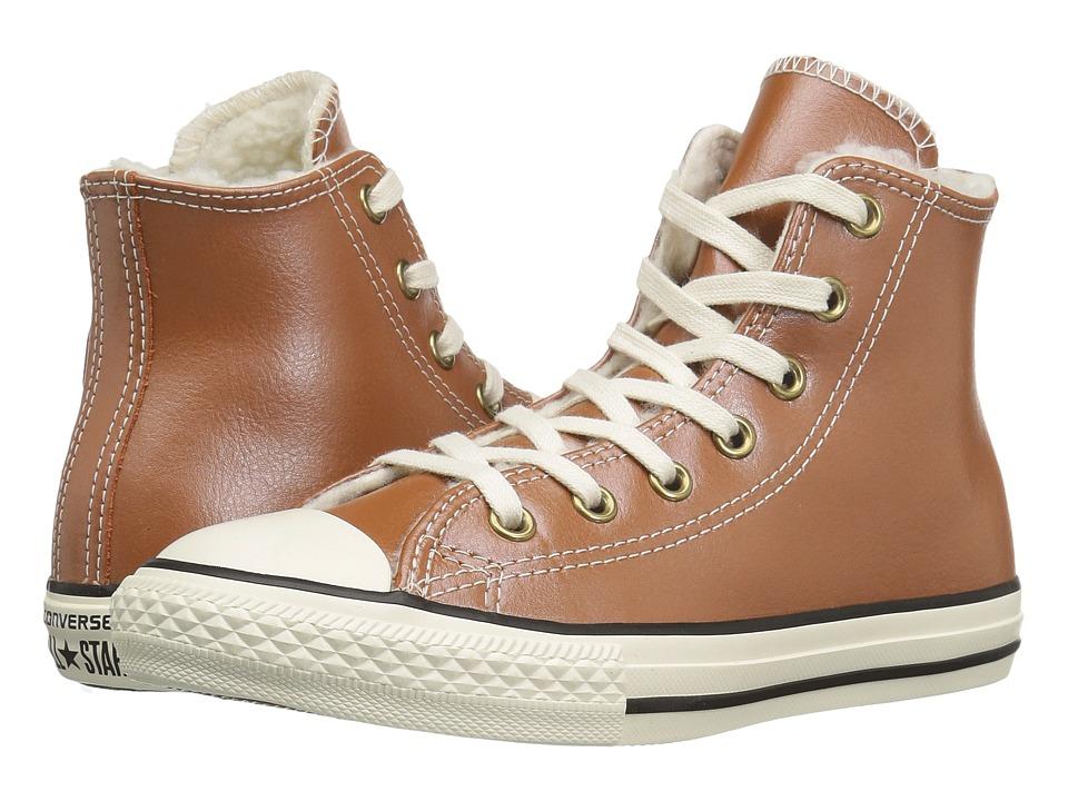 Converse Kids - Chuck Taylor All Star Shearling Hi (Little Kid/Big Kid) (Antique Sepia/Parchment/Egret) Girls Shoes