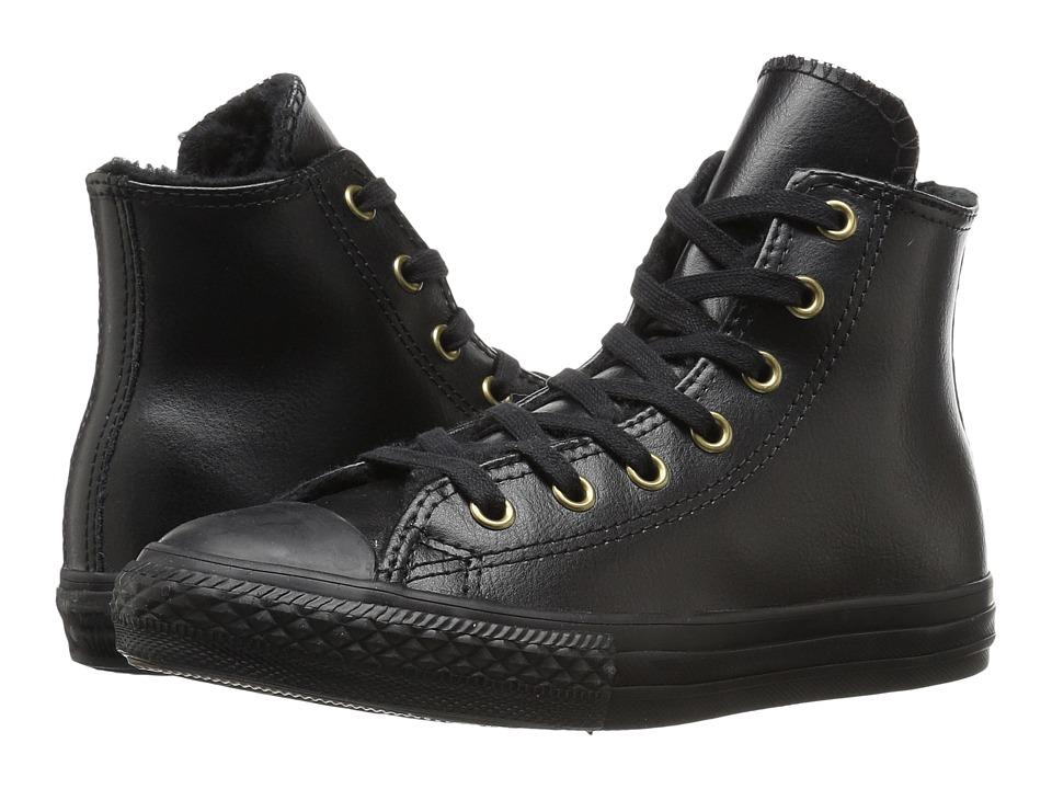 Converse Kids - Chuck Taylor All Star Shearling Hi (Little Kid/Big Kid) (Black/Black/Black) Girls Shoes
