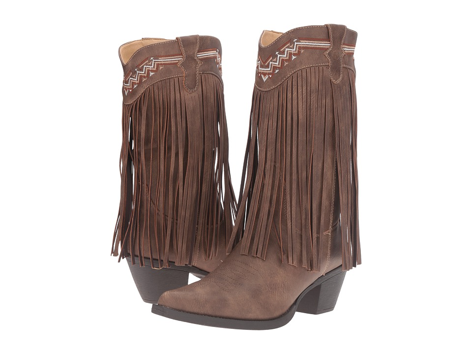 Roper Fringes (Brown Faux Leather) Cowboy Boots