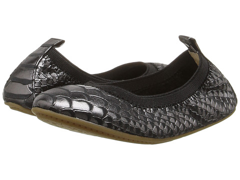 Yosi Samra Kids Sammie Frosted Python Embossed Leather Flat (Toddler/Little Kid/Big Kid) - Black