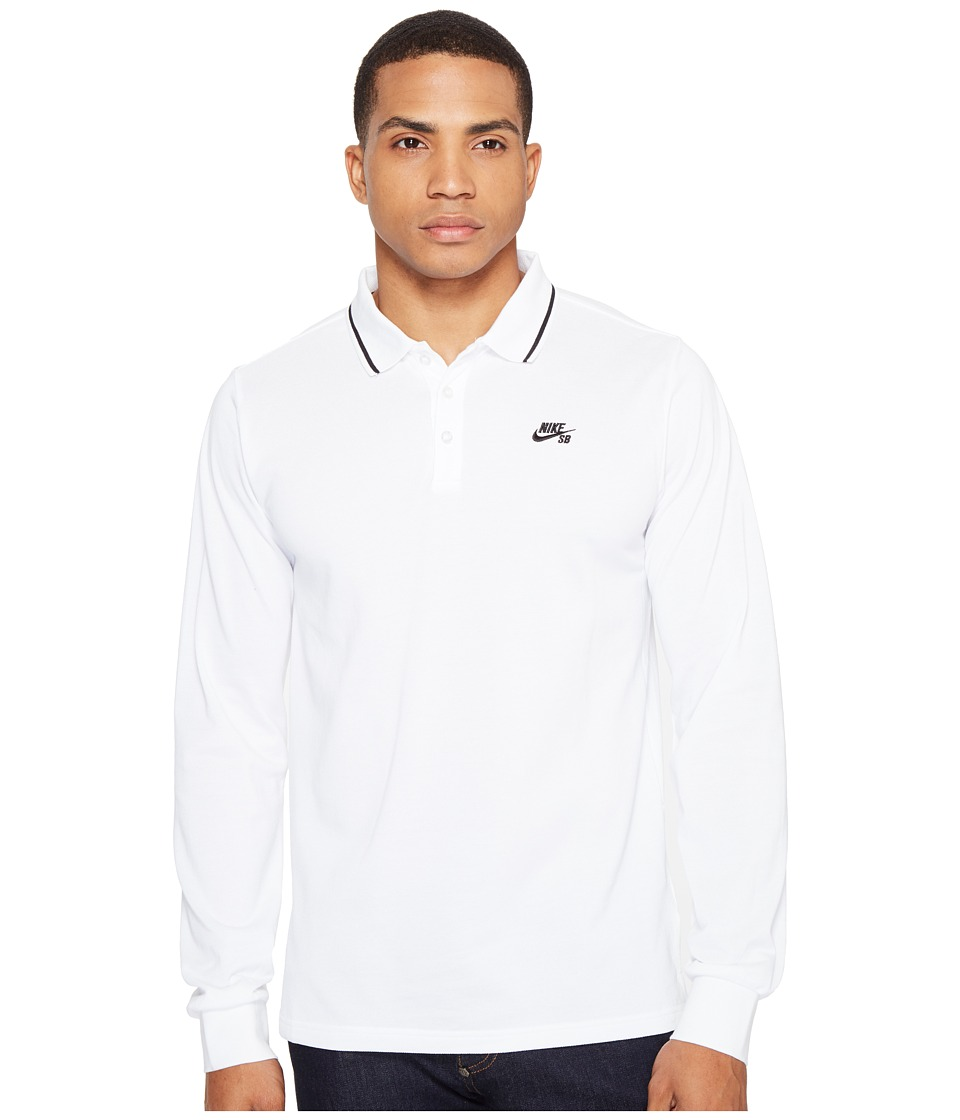 Nike SB - SB Dry Long Sleeve Polo (White/Black) Men's Lon...