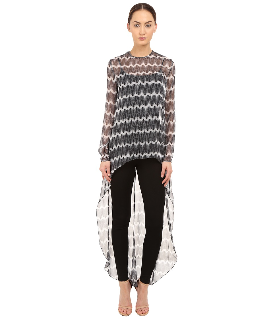 THOMAS WYLDE Claudia Zigzag Printed High Low Top Black Womens Blouse