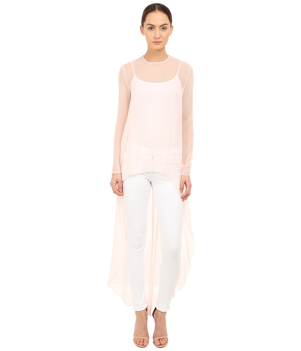 THOMAS WYLDE Claudia Solid High Low Top Pink Womens Blouse