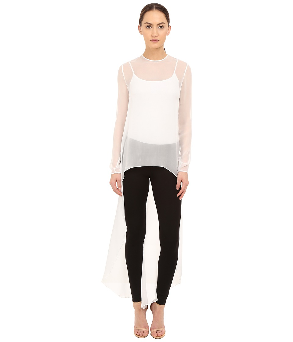 THOMAS WYLDE Claudia Solid High Low Top White Womens Blouse