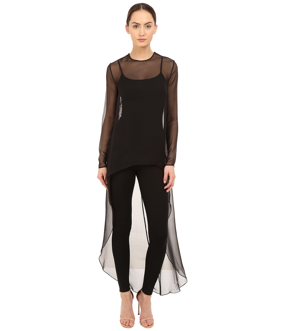 THOMAS WYLDE Claudia Solid High Low Top Black Womens Blouse