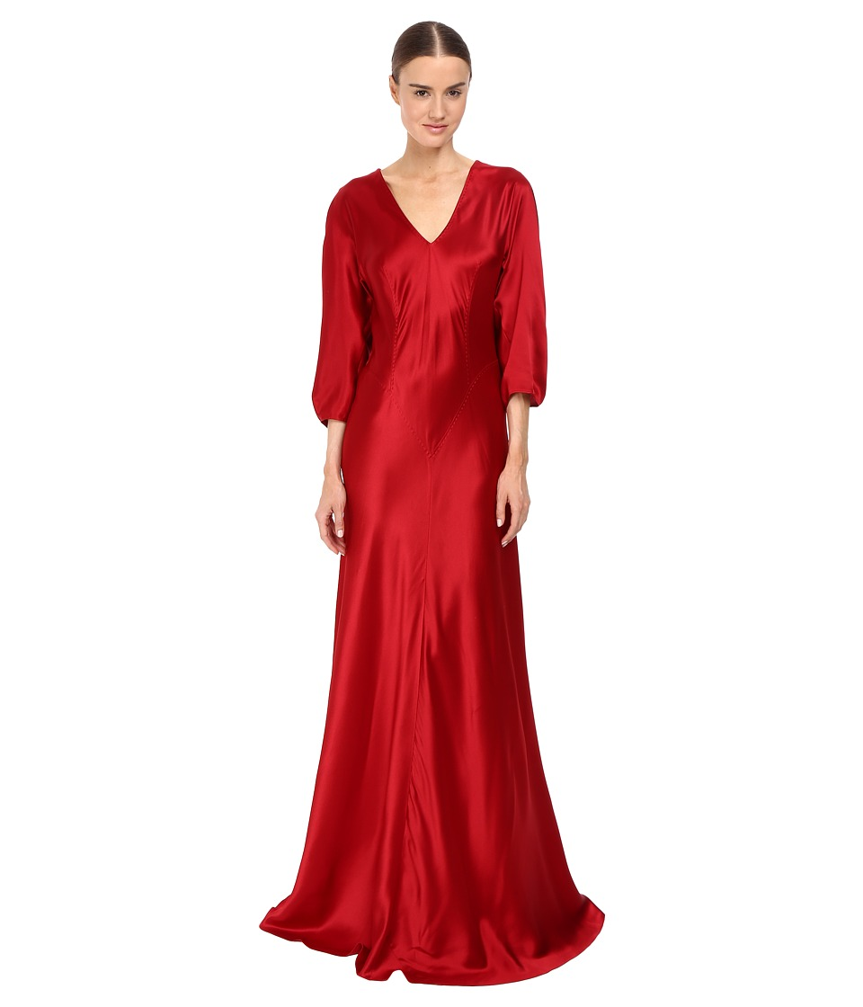 Image of Alberta Ferretti - 3/4 Sleeve V-Neck Satin Gown (Ruby) Women's Dress