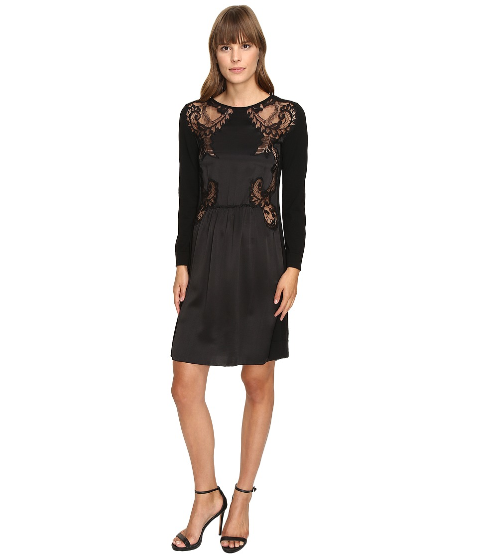 Image of Alberta Ferretti - 3/4 Sleeve Satin Dress (Black) Women's Dress