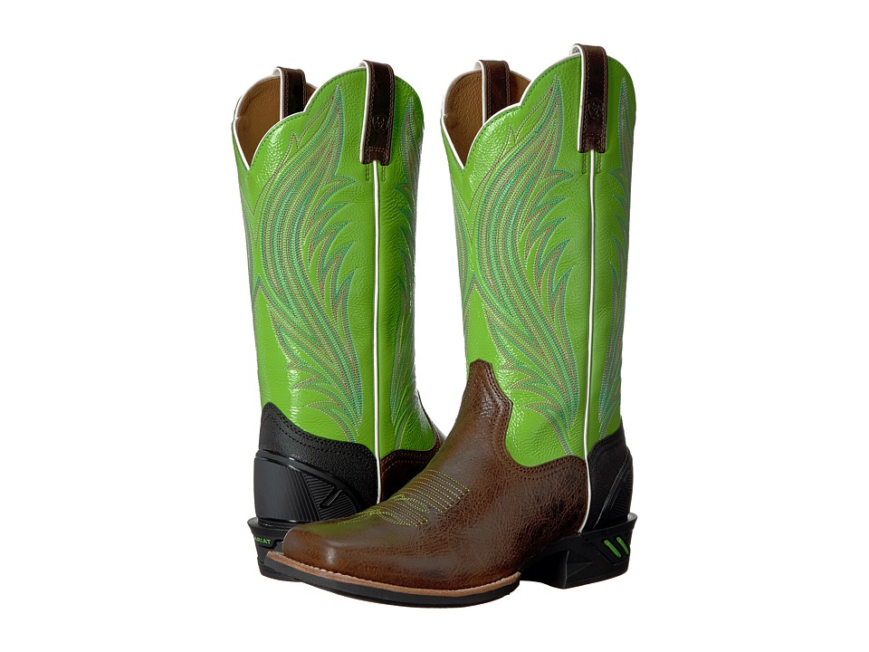 Ariat Catalyst Prime (Brush Country Brown/Bright Lime) Cowboy Boots