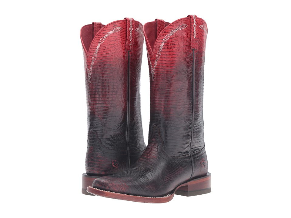 Ariat Ombre Wide Square (Ombre Red Lizard Print) Cowboy Boots