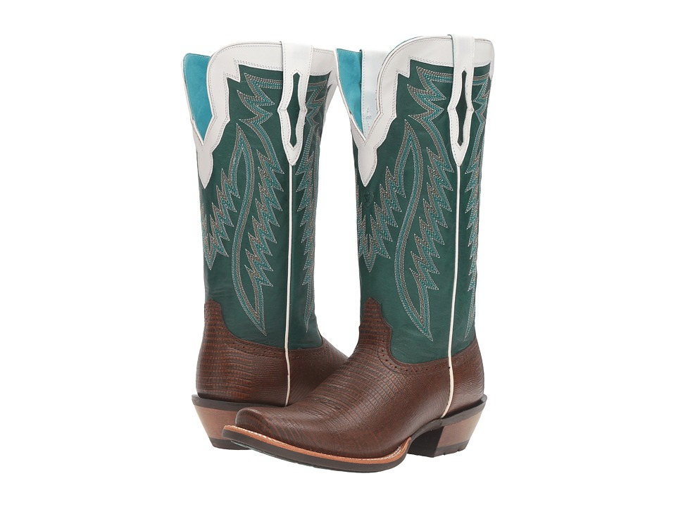 Ariat Futurity (Chocolate Lizard Print/Bright Emerald) Cowboy Boots