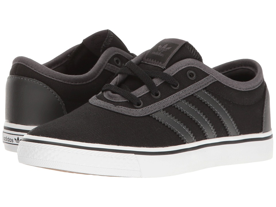 Image of adidas Skateboarding - Adi-Ease J (Little Kid/Big Kid) (Black/Dark Grey Heather Solid Grey/White) Skate Shoes