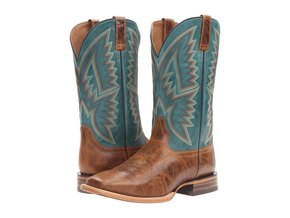 Ariat Hesston (Peppered Tan/Teal Blue) Cowboy Boots