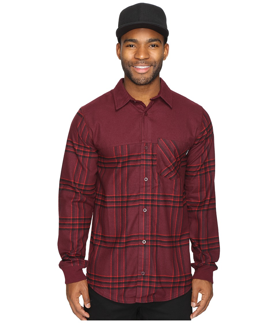 Image of adidas Skateboarding - Boss K Flannel Top (Maroon/Black/Scarlet) Men's Long Sleeve Button Up