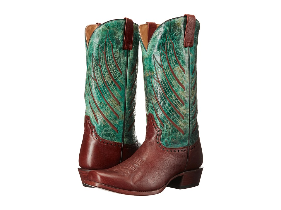 Stetson Wing Tips (Brown/Turquoise) Cowboy Boots