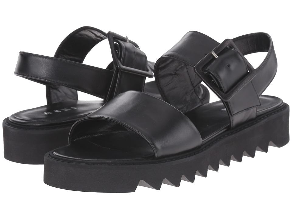 ASKA Ellis Black Smooth Womens Sandals