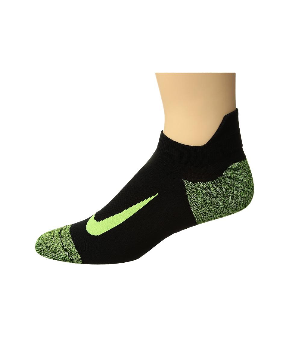 Nike - Elite Merino Lightweight No Show Running Sock (Black/Black/Volt) No Show Socks Shoes