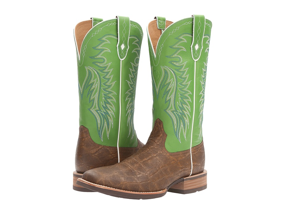 Ariat Big Loop (Golden Tan Elephant Print/Vibrant Green) Cowboy Boots