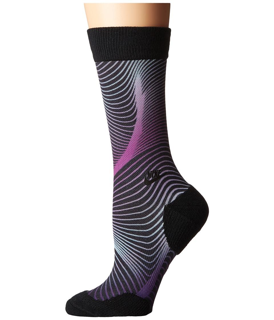 Nike - Muscles Crew Sock (Black/Bright Grape/Black) Women's Crew Cut Socks Shoes