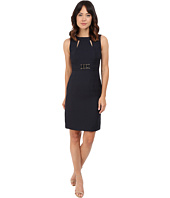 Tahari by ASL - Jacquard Sheath Dress w/ Cut Outs and Rectangular Waist Hardware