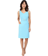 Tahari by ASL - V-Neck Sheath Dress w/ Round Enamel Belt Detail