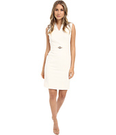 Tahari by ASL - V-Neck Sheath Dress w/ Gold Belt Hardware