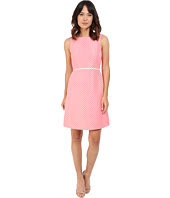 Tahari by ASL - Dot Print A-Line Dress w/ Contrast Trim