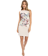 Tahari by ASL - Sleeveless Double Woven Sheath Dress w/ Printed Lace