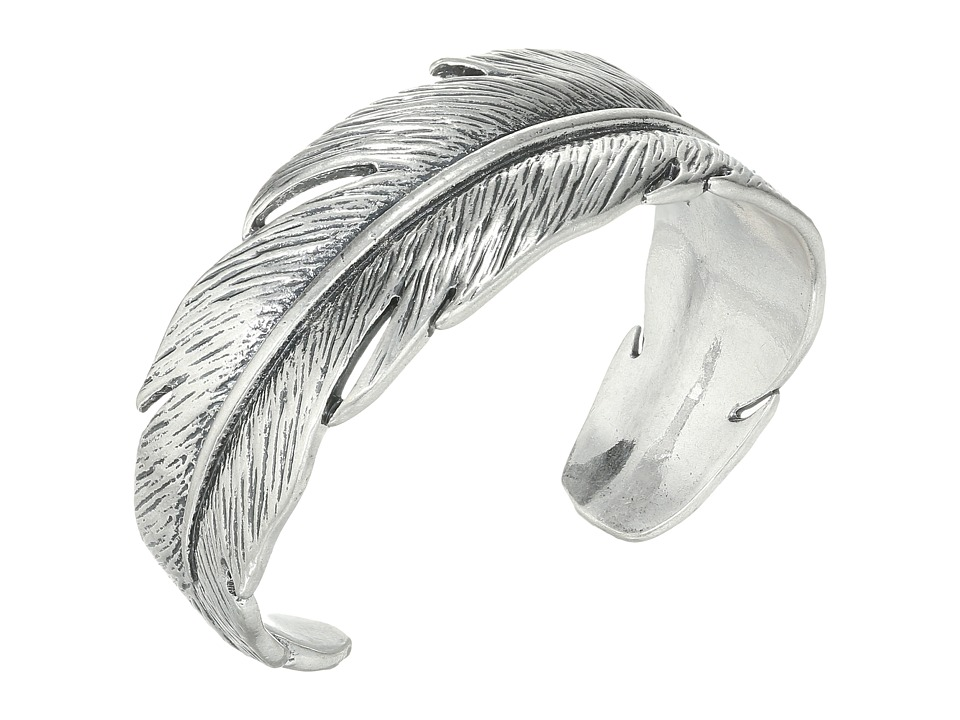 Lucky Brand Casted Feather Cuff Bracelet Medium Grey Bracelet