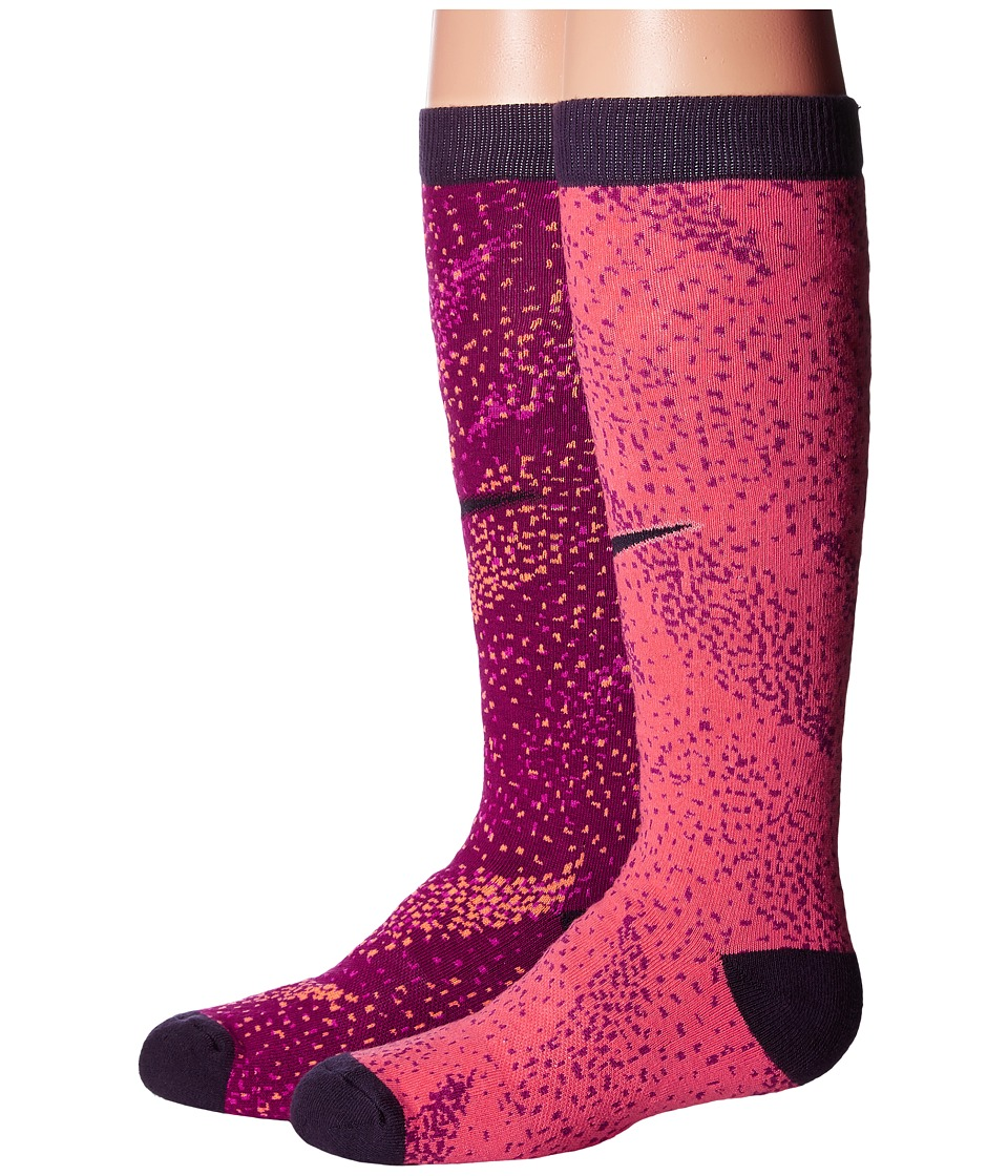 Nike Kids 2-Pair Pack Graphic Cotton Knee Highs (Little Kid/Big Kid) (Multicolor 6) Girls Shoes