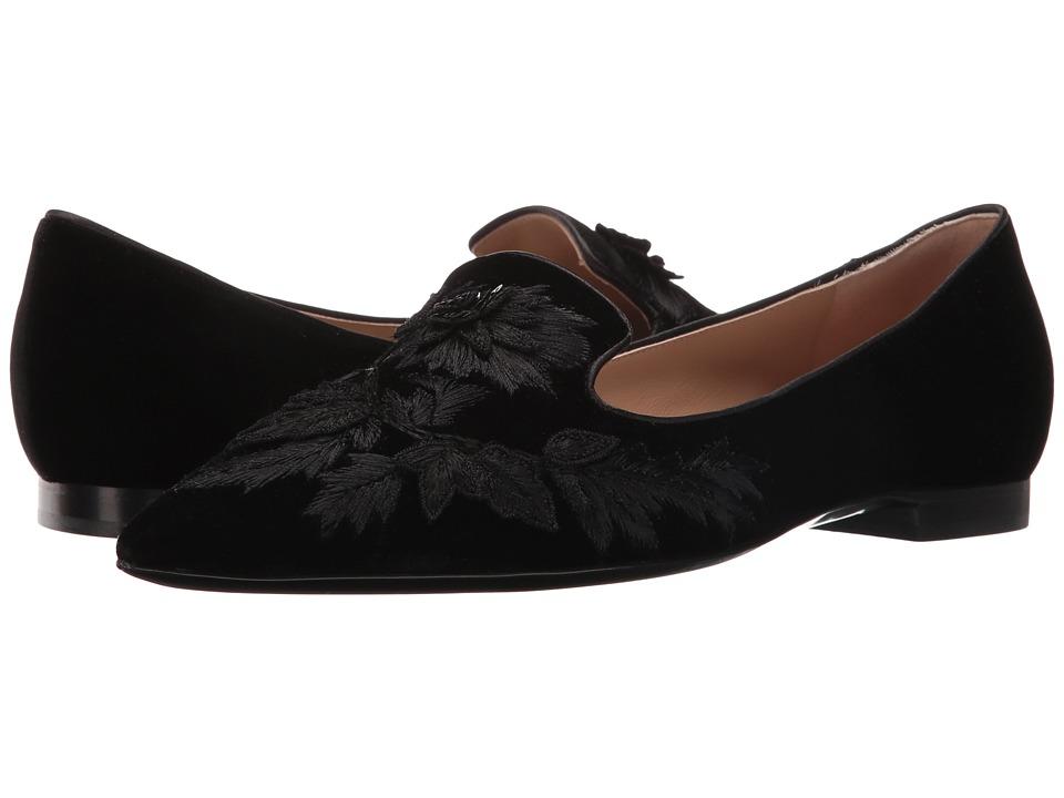 Image of Alberta Ferretti - Embroidered Slip-On Flat (Black) Women's Flat Shoes