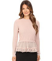 RED VALENTINO - Cotton Yarn Lingerie Stiching & Point D'Esprit Sweater