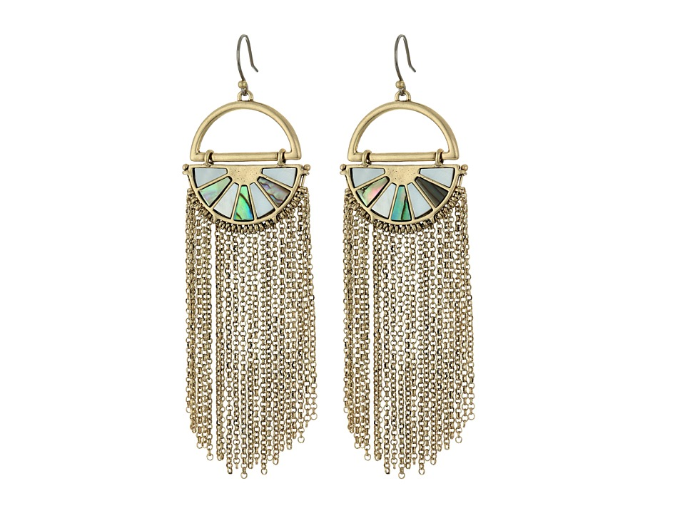Lucky Brand - Abalone Fringe Earrings (Medium Dark Gold) Earring