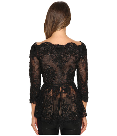 MARCHESA Off the Shoulder Beaded Lace Peplum Top with 3/4 Sleeves and Lace Ladder Detail