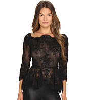Marchesa - Off the Shoulder Beaded Lace Peplum Top with 3/4 Sleeves and Lace Ladder Detail