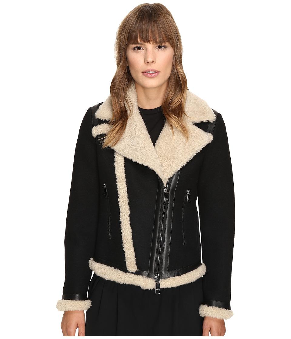 Neil Barrett - Mixed Fabrics Doubleface Wool + Shearling Petit Biker Jacket (Black/Natural) Women
