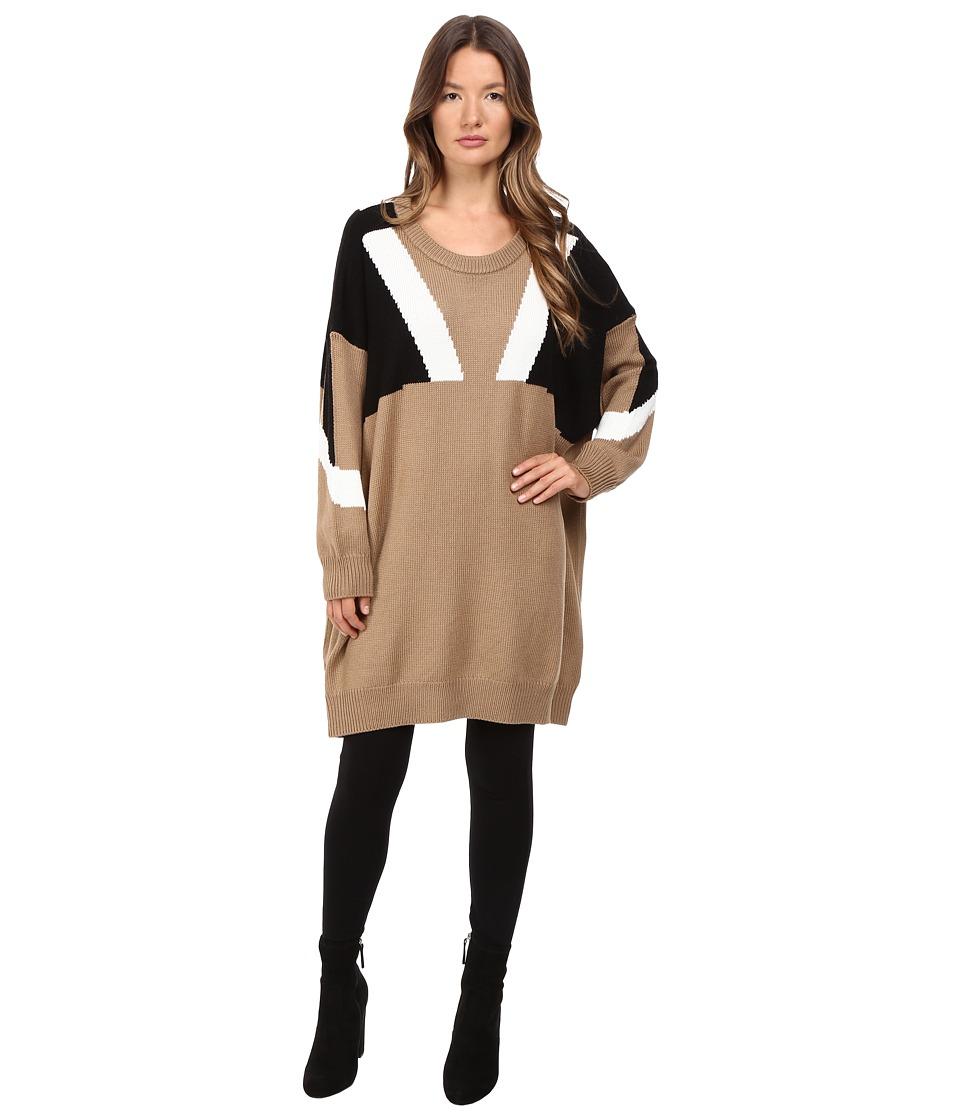 Neil Barrett Oversize Modernist Wool Sweater (Camel/Black/White) Women