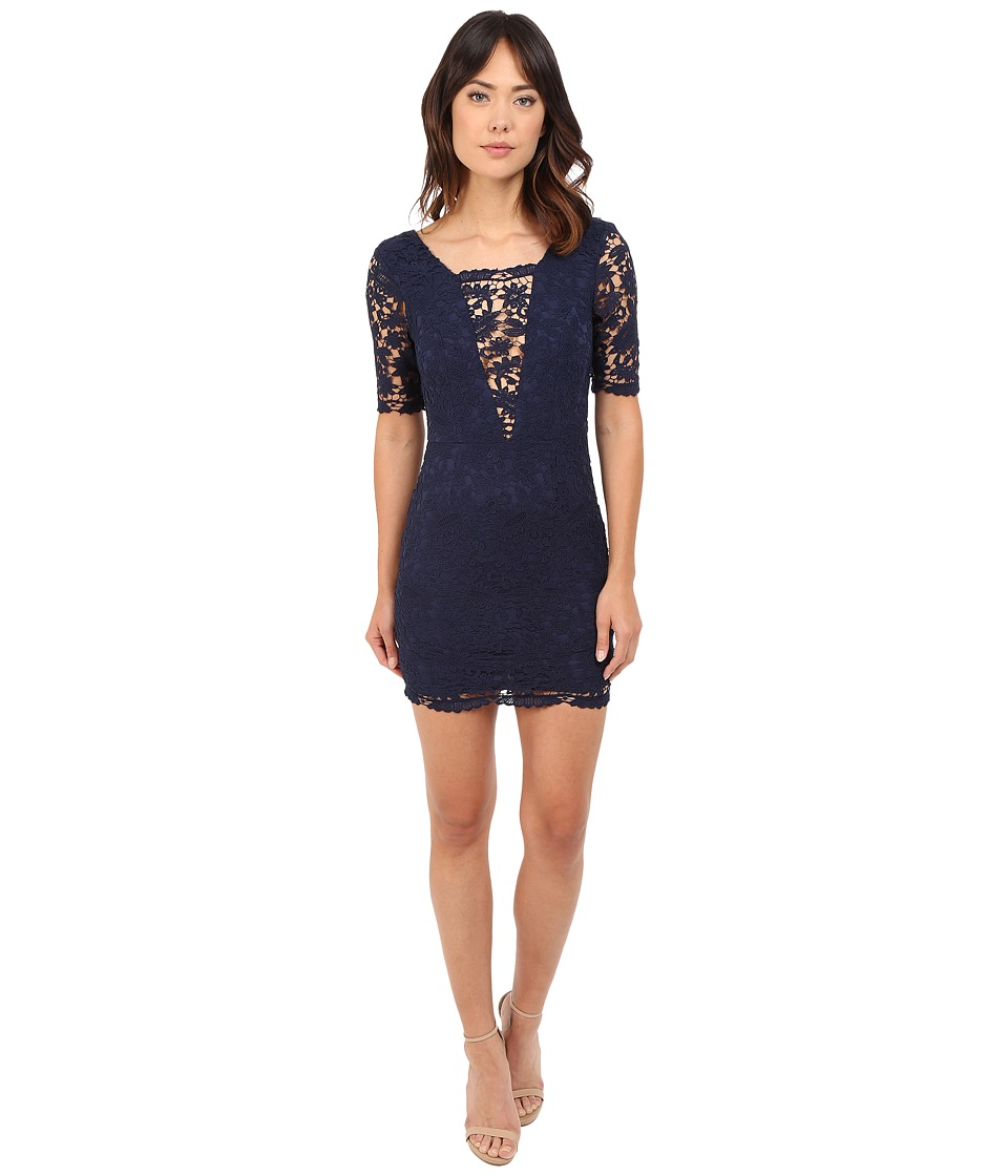 Brigitte Bailey Jennifer Crochet Lace Detail Mini Dress Navy Womens Dress