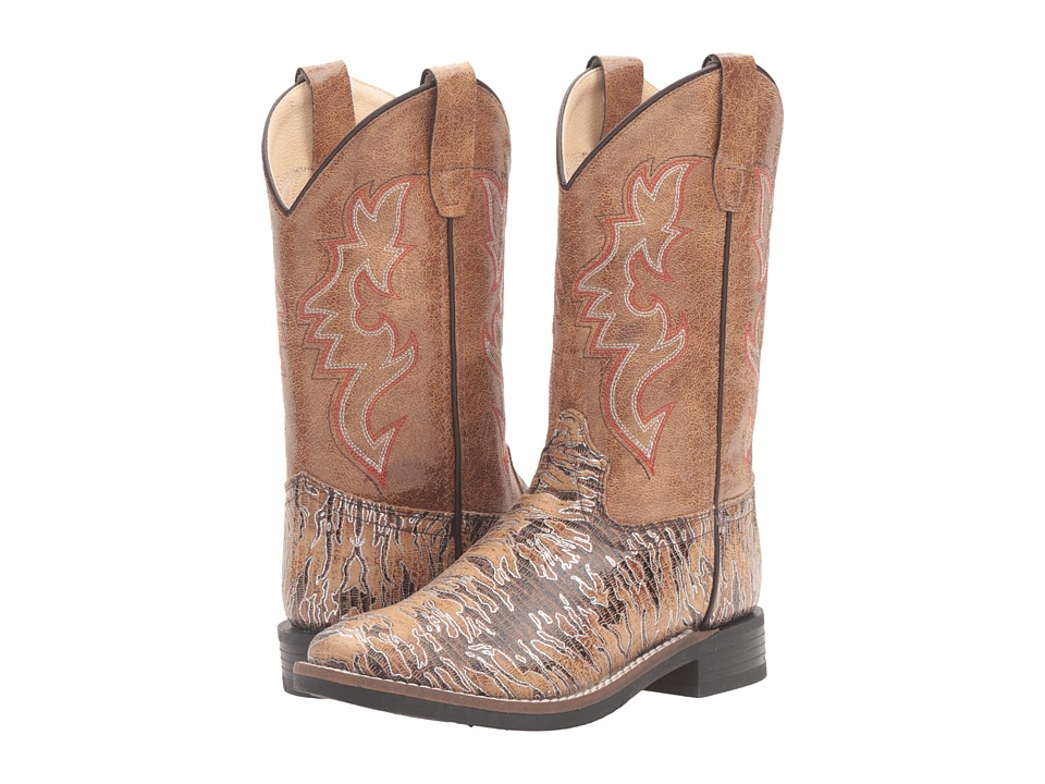 Old West Kids Boots - Lizard Print Square Toe