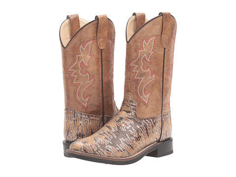 Old West Kids Boots Lizard Print Square Toe (Toddler/Little Kid) - Brown