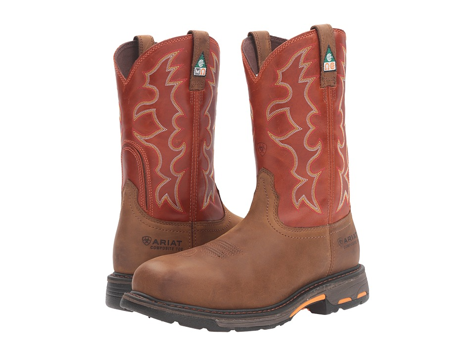 Ariat Workhog Wide Square Toe CSA (Dark Earth/Brick) Men