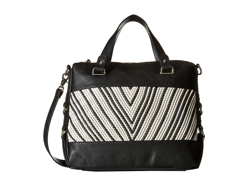 French Connection - Charlie Woven Satchel (Black/White) Satchel Handbags