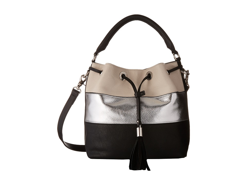 French Connection - Jill Drawstring (Black/Silver/African Stone/Black Suede) Drawstring Handbags