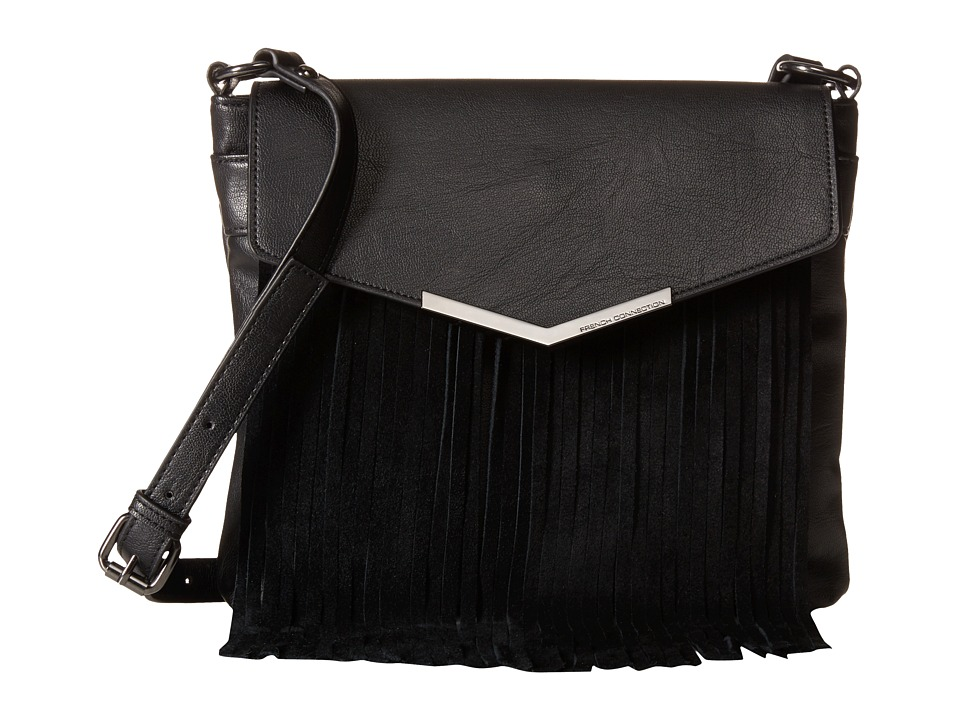 French Connection - Lola Crossbody (Black/Black Suede) Cross Body Handbags