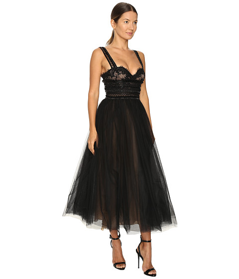 MARCHESA Tea-Length Flared Cocktail With Beaded Lace Bustier Wide Shoulder Straps And Textured Ruffle Embroid