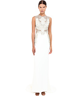 Marchesa - Stretch Crepe Fitted A-Line Gown with Gold Beaded Appliques Cut Out Details and Train