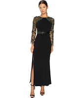 Marchesa - Fitted Stretch Crepe Gown with Crystal Embroidered Raglan Sleeves and Beaded Satin Belt
