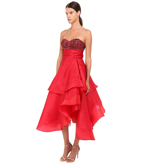 MARCHESA Strapless Satin-Faced Organza Tea-Length Gown With Crystal Encrusted Bustier And Multilayered Cascad
