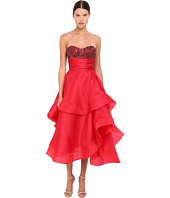 Marchesa - Strapless Satin-Faced Organza Tea-Length Gown with Crystal Encrusted Bustier and Multilayered Cascading Circle Horsehair Skirt